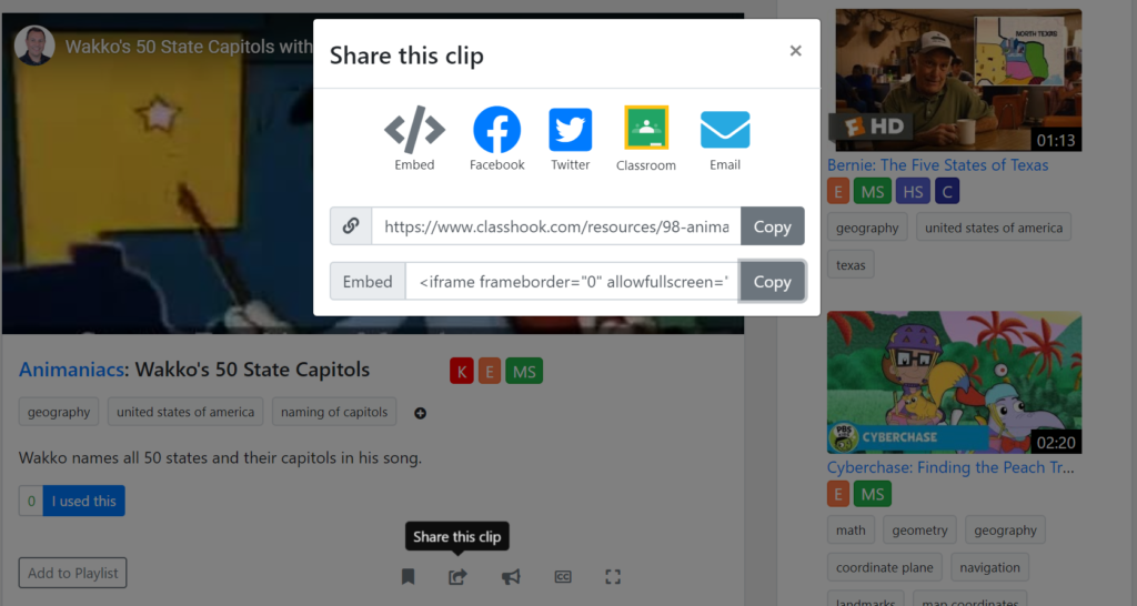Shows how to copy the embed link from ClassHook.