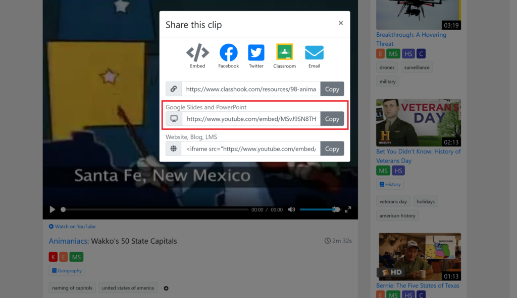 share clip - copy link under Google Slides and PowerPoint